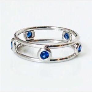 Beautiful 14k white gold & sapphire band / ring